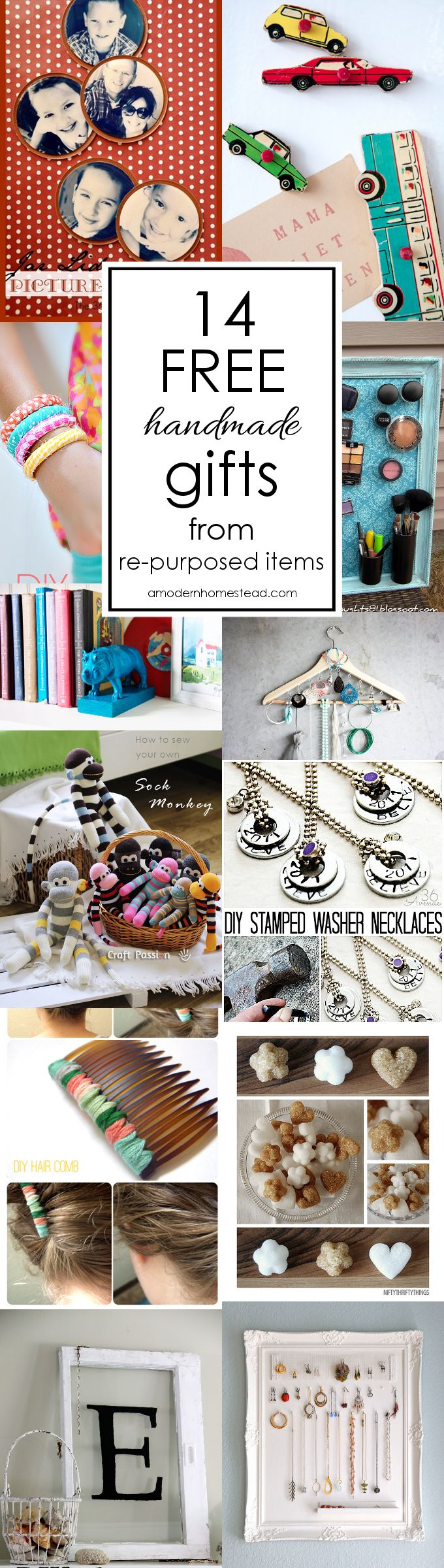 FREE handmade gifts make it possible to give thoughtful presents even when you're low on cash! These are all items you can make from re-purposed items and that anyone would be thrilled to receive!