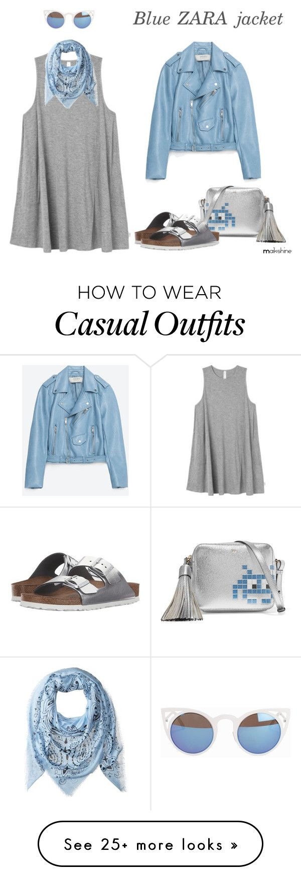 """""""Blue ZARA jacket, casual outfit"""" by maikshine on Polyvore featuring Anya Hindmarch, RVCA, Jakke, Quay, Chan Luu and Birkenstock"""