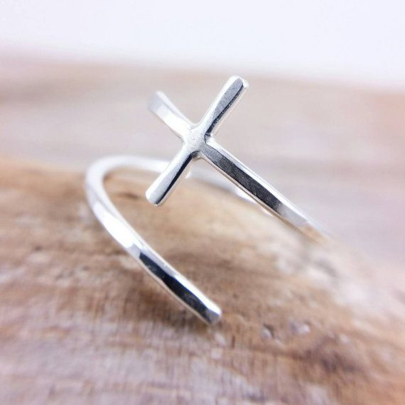 Cross Ring Sterling Silver Sideways Adjustable by JCLDesigns