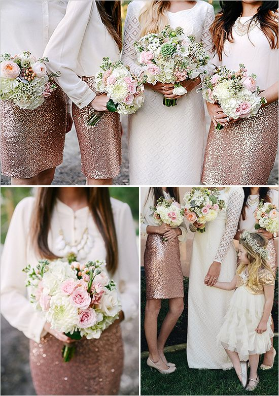 sparkly bridesmaids - what lovely outfits and such a relief from the standard bridesmaid dresses and these are wearable again.
