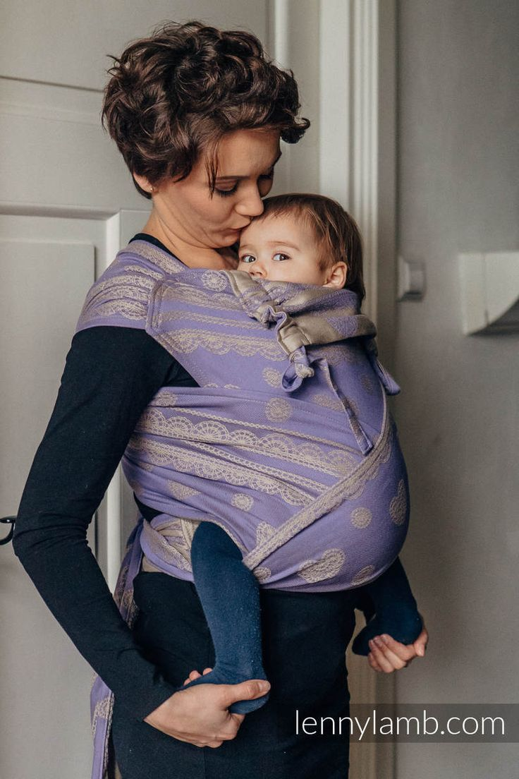 WRAP-TAI CARRIER TODDLER WITH HOOD/ JACQUARD TWILL / 100% COTTON / PLUM LACE