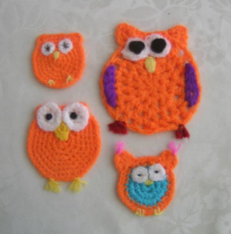 original design */* Hippie - Bohemian - shabby -  Orange crocheted owl --   Orange gehäkelte Eulen  --  Turuncu  tığ işi baykuşlar --