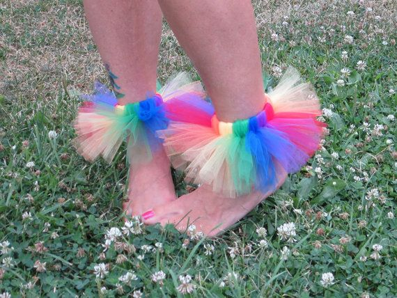 Classic Rainbow Tutu Arm Ankle Band  Baby Girls Toddler Teen Adult Clown Costume by American Blossoms