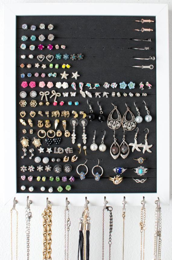 Hanging Earring Organizer 8x10 White Frame Foam Etsy Hanging Jewelry Organizer Stud Earring Organizer Hanging Jewelry