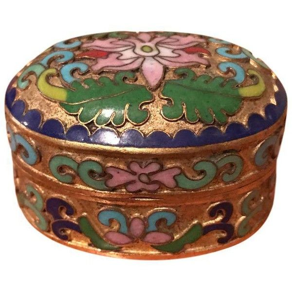 Vintage Asian Cloisonné Enamel Box ($20) ❤ liked on Polyvore featuring home, home decor, small item storage, boxes, jewelry trinket box, enamel pill box, jewelry boxes, bauble box and trinket box
