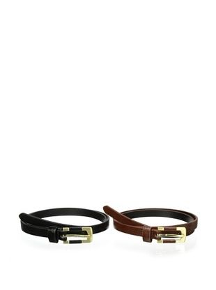 72% OFF LP Blue Women's Skinny Belt Set (Brown/Black)