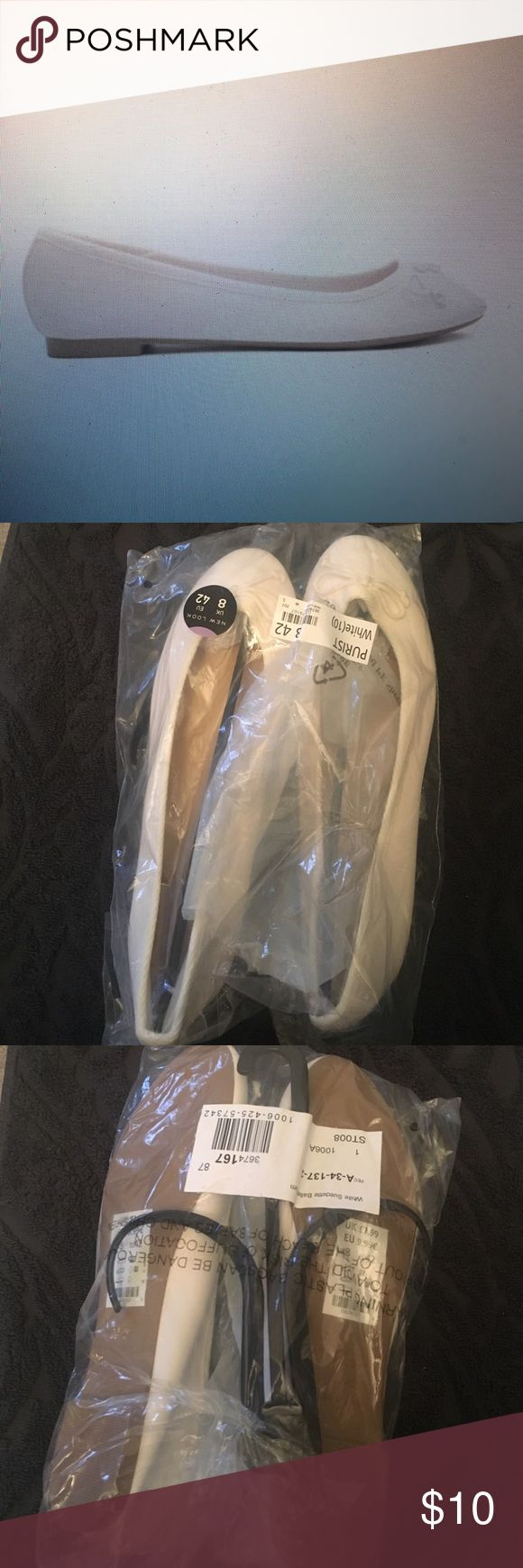 New Look white ballet flats Brand new, still in package from UK retailer New Look. Super comfy! New Look Shoes Flats & Loafers