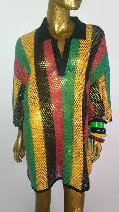 Vintage mesh Rasta Shirt by nunuvintage on Etsy
