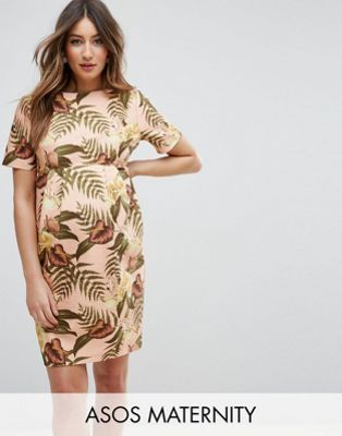 Maternity Smart Dress in Tropical Print