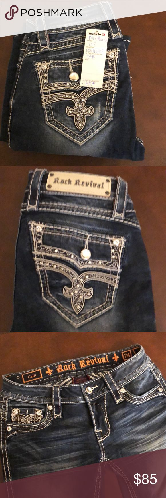 Rock revival women's jeans size 24 Brand new pair of rock revival women's jeans size 24 original price $160 new with tag Rock Revival Jeans Flare & Wide Leg