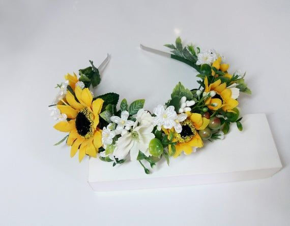 Sunflower Headband Yellow Flower Crown Sunflower Wreath Bridal Headband Flower Hair Wreat