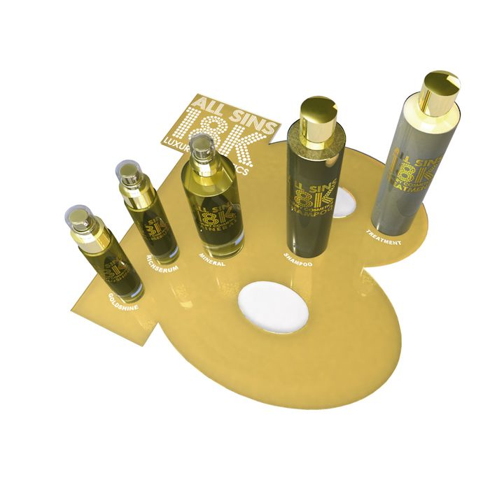 INTROKIT EXPOSITOR GOLD. Composición: -Shampoo 200 ml: 3 unidades -Treatment 200 ml: 3 unidades -Mineral 150 ml: 3 unidades -Goldshine 60 ml: 3 uni...
