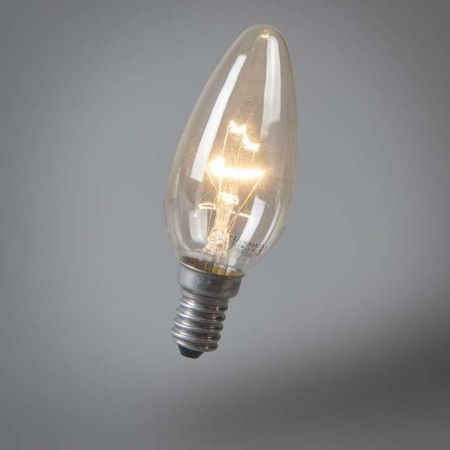 Bombilla de vela E14 40W transparente. Iluminación y bombillas