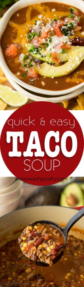 This Quick and Easy Taco Soup recipe is a family favorite! We love topping it with all the taco toppings!