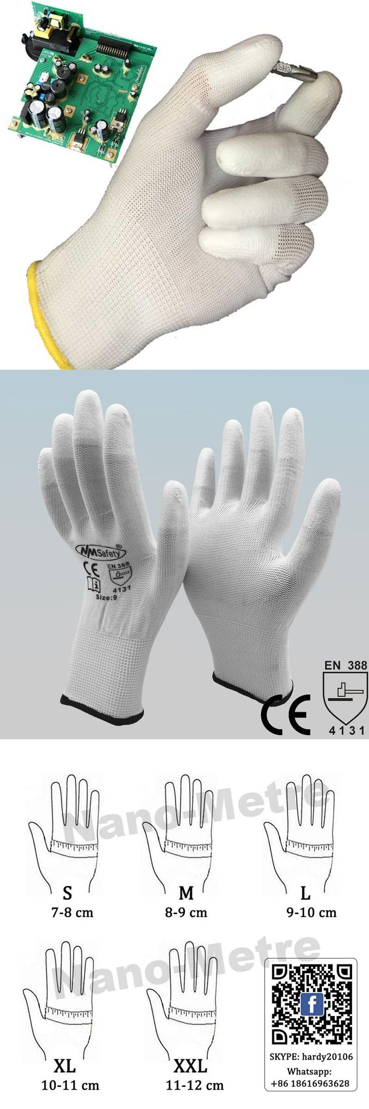 [Visit to Buy] NMSAFETY 13 Gauge Knitted White Nylon Dipped PU Finger ESD Electrician Work Gloves #Advertisement