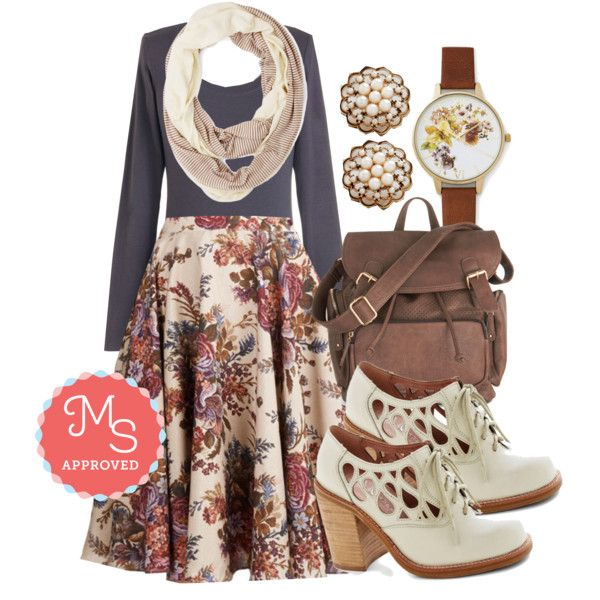 In this outfit; Ikebana for All Skirt in Bouquets, Simply Ink Top, Lunch Pairing Scarf, Lustrous Clusters Earrings, Time of the Season Watch, Visualize Victory Backpack in Brown, Squiggle Room Heel #backtoschool #cozyfashions #fallseparates