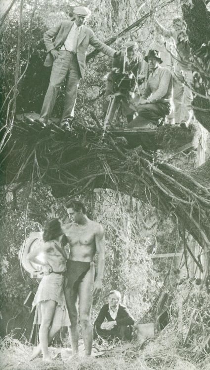 "Movie Set of ""Tarzan"" - Maureen O'Sullivan and Johnny Weissmuller. Some Filming for the jungle scenes were done at the arboretum in Arcadia, CA"