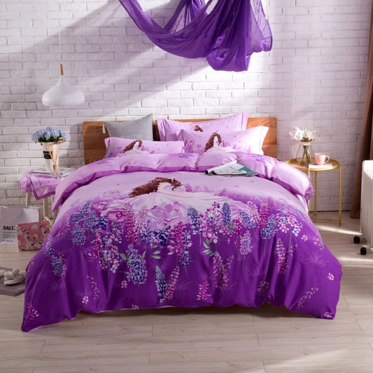 100% Cotton Bedding Sets Purple Duvet Cover Lavender and Girl Printed Comfortable and Beautiful Suitable for Teenagers