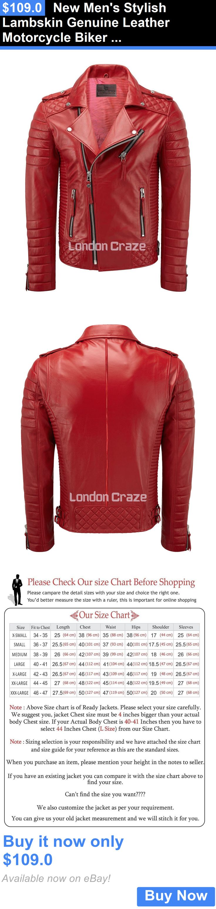 Men Coats And Jackets: New Mens Stylish Lambskin Genuine Leather Motorcycle Biker Jacket Red BUY IT NOW ONLY: $109.0
