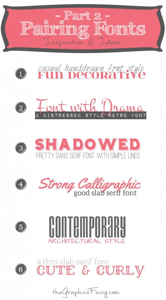Favorite Font Pairings (Part 2) - The Graphics Fairy ~~ {12 Free fonts w/ easy download links}