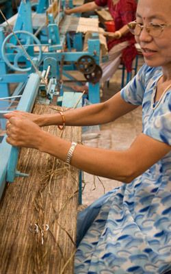 Banana fiber weavers create yarn through a process of gather wild plants, drying and softening the salks and spinning the material by hand. | Social Responsibility | 3form colorbyamber.com #fullcircle #organicjewelry #ecoresin