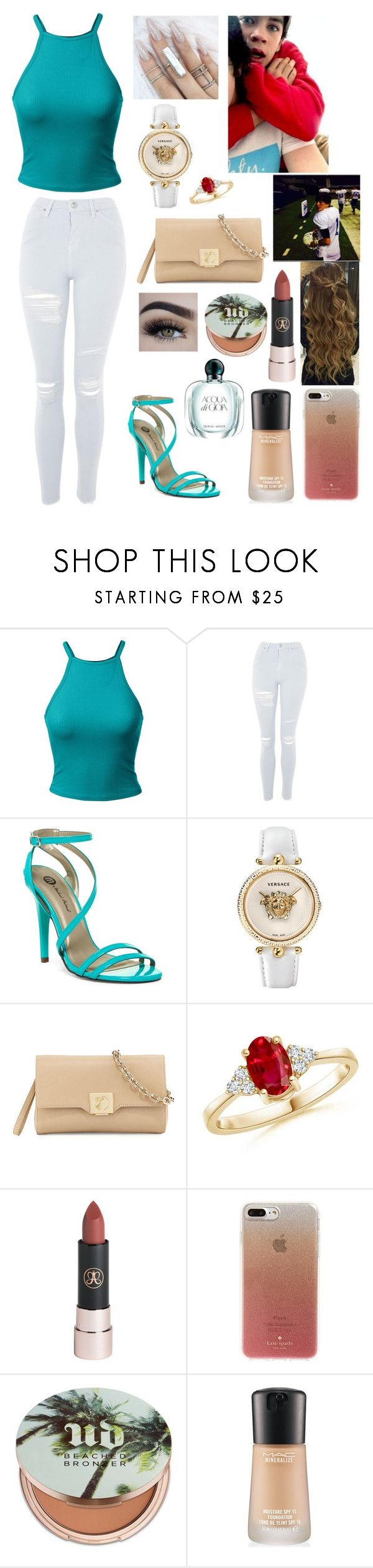 """Untitled #439"" by brie-karitsa-luciano on Polyvore featuring Topshop, Michael Antonio, Versace, Kate Spade, Urban Decay, MAC Cosmetics and Giorgio Armani"