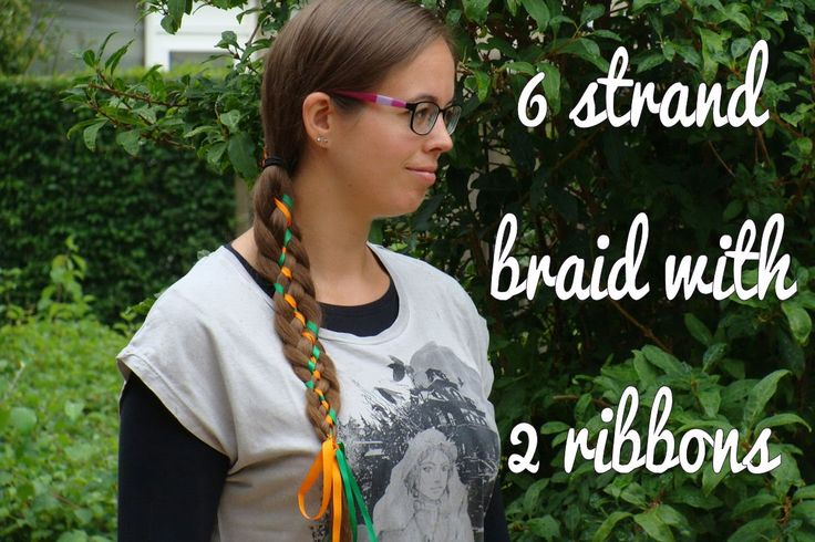 Learn how to do this fun 6 strand braid with 2 ribbons yourself! For Halloween with orange and green ribbon! Also subscribe to my channel!