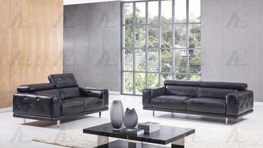 2 pcs Adjustable Headrest Black Italian Leather Sofa Set with Sofa Loveseat