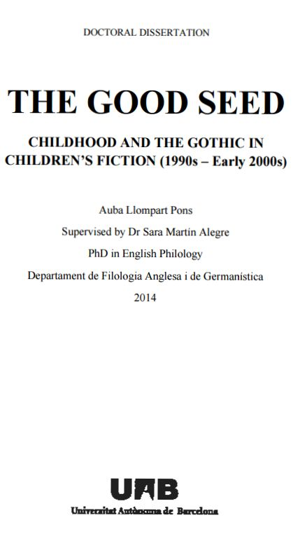 The Good seed [Recurs electrònic] : childhood and the gothic in children's fiction (1990s– early 2000s)