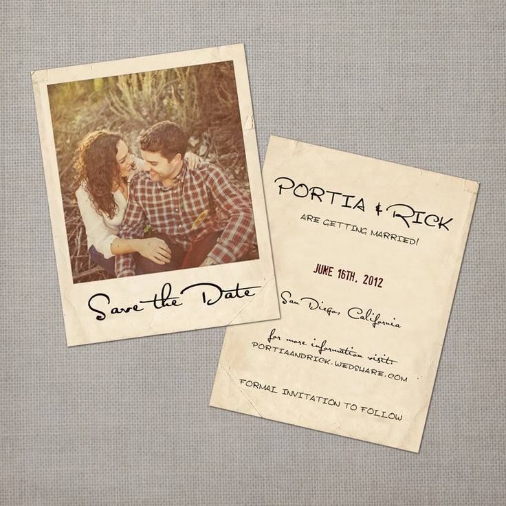 Love the polaroid idea Portia Vintage Save the Date Card by NostalgicImprints on Etsy