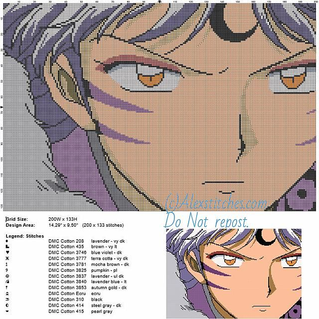 Sesshomaru 3 free cross stitch pattern of Inuyasha 200x133 13 colors