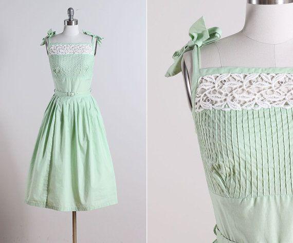 reserved /// Mint Meltaway . vintage 1950s dress . vintage summer dress . 5586