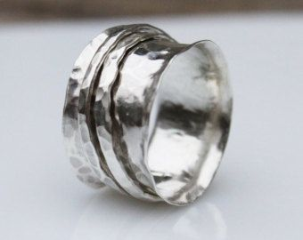 Bohemian band wide silver ringunique ring for her by artisanlook