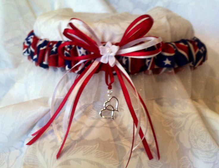 Rebel flag confederate dixie wedding garter redneck by for Rebel flag wedding dresses