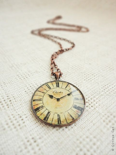 Vintage Clock Necklace from Pangaea