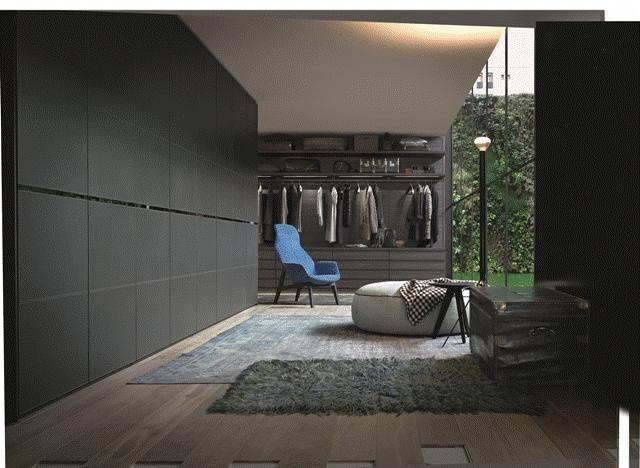 POLIFORM: Ego walk-in closet in oak, Senzafine Bankok wardrobe, Ventura Lounge armchair, Elise Pouf and Ipsilon stool