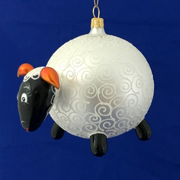 SHEEP-Glass Christmas tree ornament-handmade in Poland