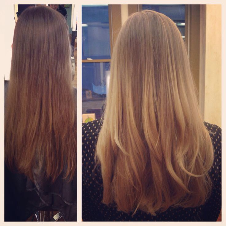 Before and after flamboyage and balayage highlights. Subtle ombré. Natural looking hair color.