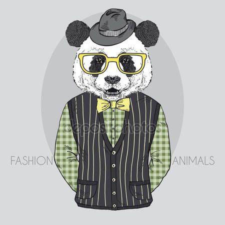 Stáhnout - Ručně tažené Vektorové módní ilustrace Panda — Stocková ilustrace #33401193