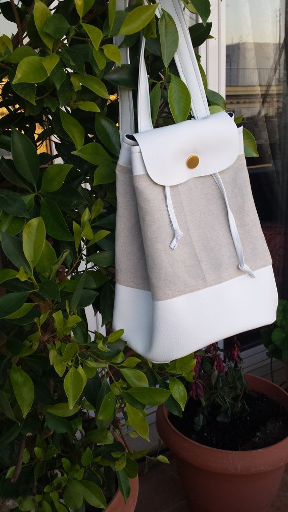5 EURO DISCOUNT COUPON CODE : PINTEREST5 -- Minimal backpack from linen and vegan leather -- Nude backpack - Chic backpack