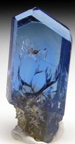 T36 - Tanzanite $ 1700 Merelani Hills, Arusha Region, Tanzania thumbnail - 2.4 x 1 x 0.8 cm  - Fine gem Tanzanite crystal with excellent transparency. Complete all around and undamaged, 2.4 x 1 x 0.8 cm.