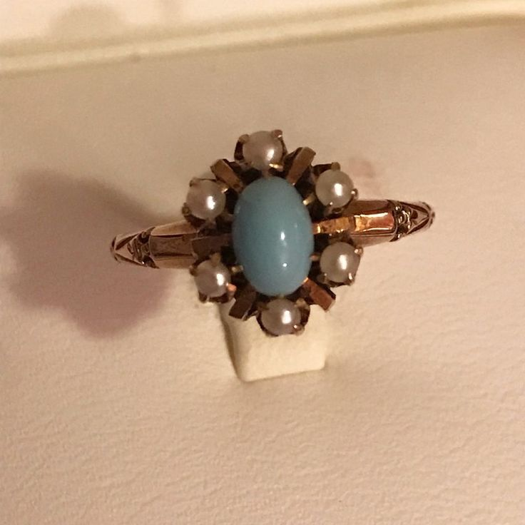 ANTIQUE VICTORIAN 10K ROSE GOLD TURQUOISE & SEED PEARL RING