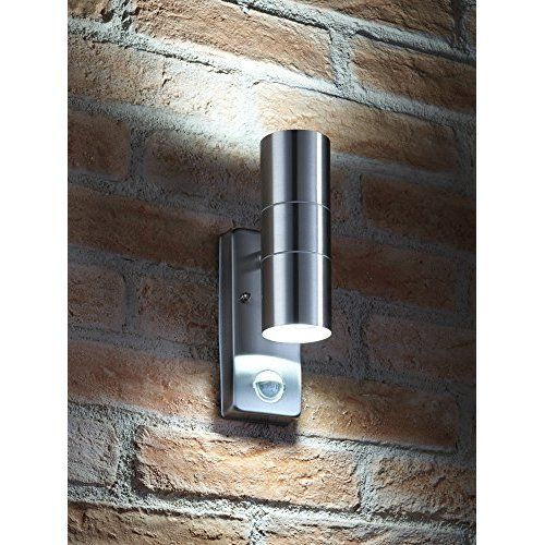 PIR Stainless Steel Double Outdoor Wall Light With Movement Sensor IP44 ZLC08DSEN Up/Down Outdoor Wall Light #outdoorgaragelightingideas