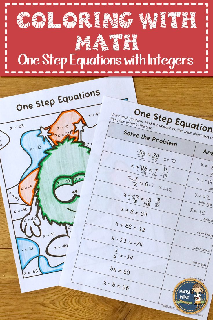 Give Your Students A Math Color Page That Reviews Solving One Step Equations With Integers Problems Do Math Maths Activities Middle School One Step Equations [ 1102 x 735 Pixel ]