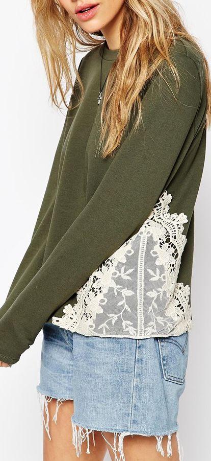 lace insert sweatshirt