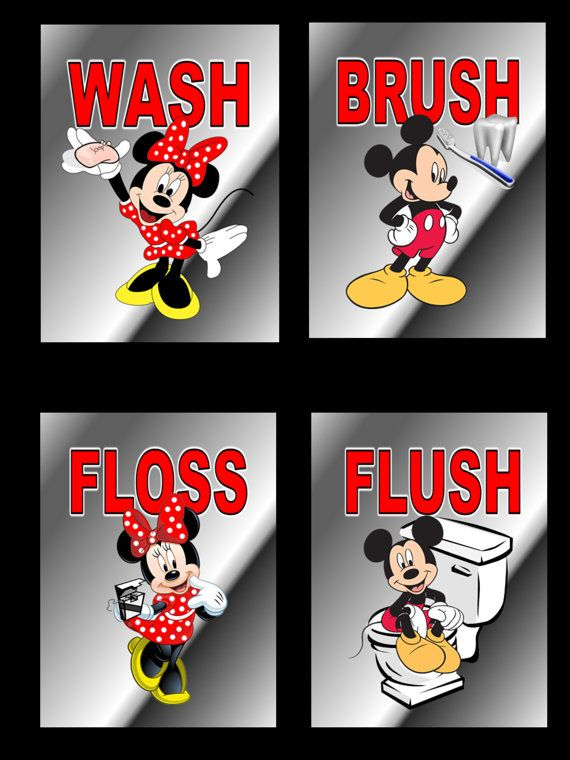 Mickey Mouse Minnie Mouse Wash Brush Flush Floss Wall Art 5 x 7 Prints for Kids Bathroom CU226