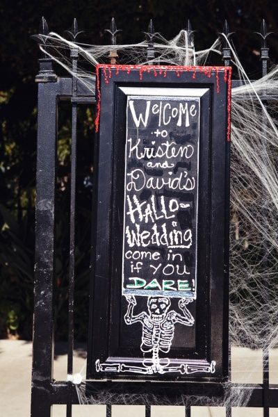 Halloween wedding: bit mirror with chalk paint! Maybe even make it a broken mirror to add some creepiness to it.: