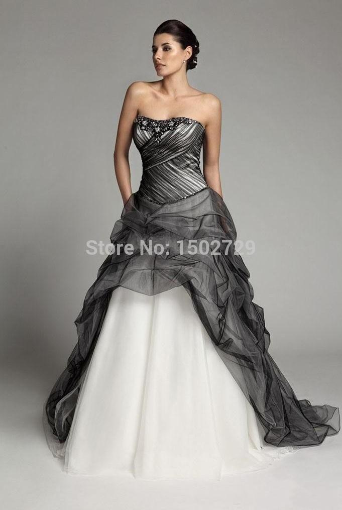 custom made bianco e nero gotico abito da sposa senza spalline in rilievo coperto corsetto plus size abiti da sposa 2015 abiti da sposa(China (Mainland))