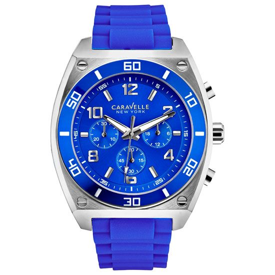 Caravelle New York - Men\'s Clark Blue Silicone Chrono Watch - 45A115 - RRP: £100.00 - Online Price: £85.00