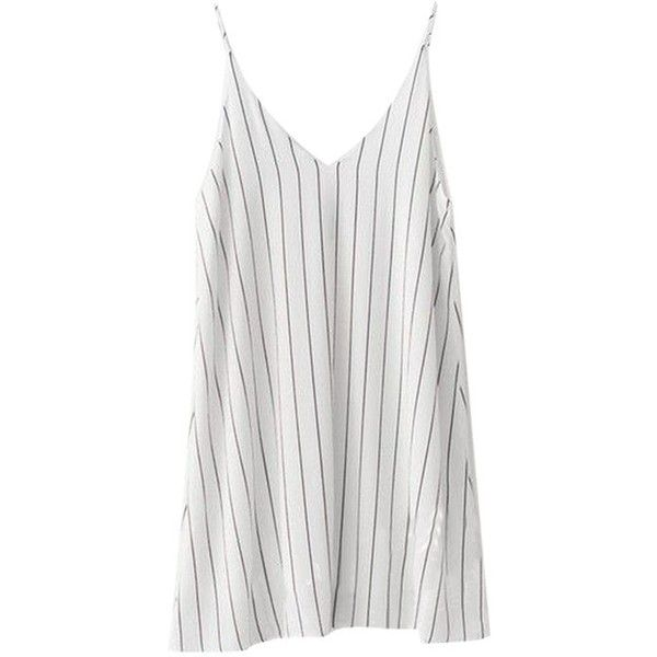 BEMSE Striped Cami Dress ($79) ❤ liked on Polyvore featuring dresses, cotton dress, white camisole dress, white colour dress, stripe dress and camisole dress